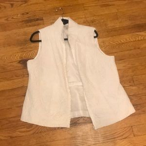White DressBarn Quilted Vest Floral Zip Up 14/16